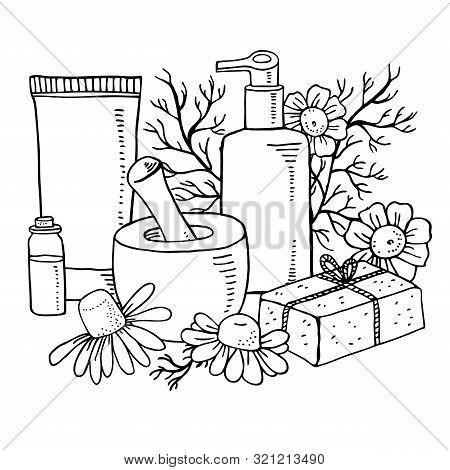 Composition With Chamomile Flowers And Leaves, Soap, Cosmetic Tubes, Pestle And Ponder. Hand Drawn S