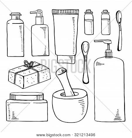 Cosmetic Tubes And Cans, Ponder, Pestle, Soap And Spoons Set. Vector Hand Drawn Outline Sketch Illus