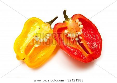 Scotch bonnet chilli peppers.