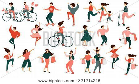 Diverse Multiracial Man And Woman Characters In Festive Clothes Dancing, Riding Bicycle, Shopping Sp