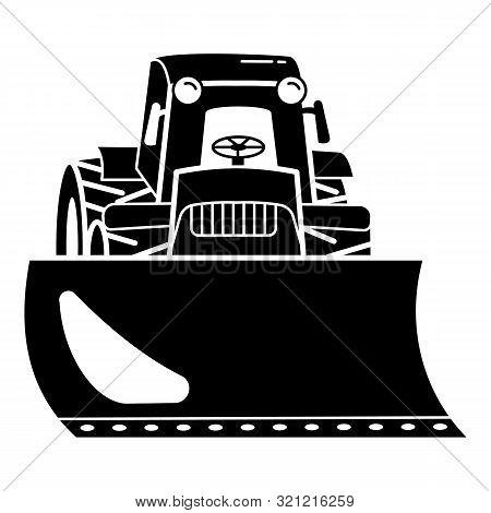 Tractor Bulldozer Icon. Simple Illustration Of Tractor Bulldozer Vector Icon For Web Design Isolated
