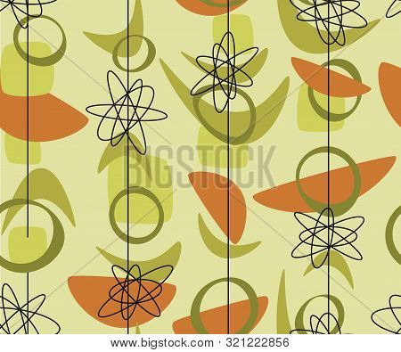 Middle Age Bio Shapes Seamless Pattern For Background, Wrap, Fabric, Textile, Wrap, Surface, Web And