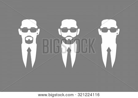 Men In Suits And Dark Glasses. Symbol Safety. Bodyguards, Security, Face Control. Isolated Flat Vect
