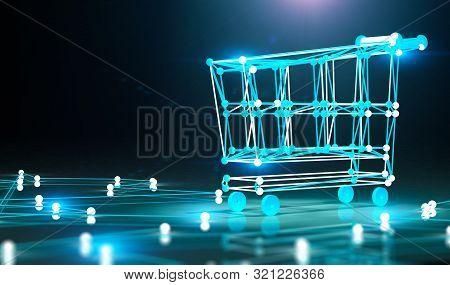 Internet Business And Basket Design.e-commerce And E-shopping Concept.3d Illustration