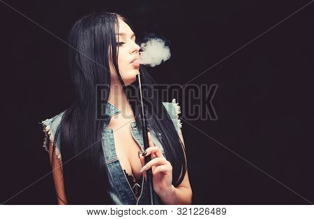 White Cloud Of Smoke. Vaping Is Sexy. Nicotine Addiction. Attractive Busty Brunette Smoking Vaping D