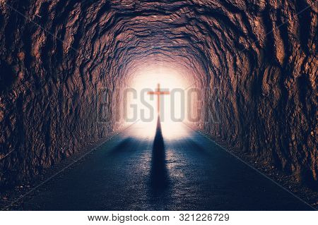 Science And Religion.christian Religion. Illustration With Cross Of Jesus Christ And Resurrection Co