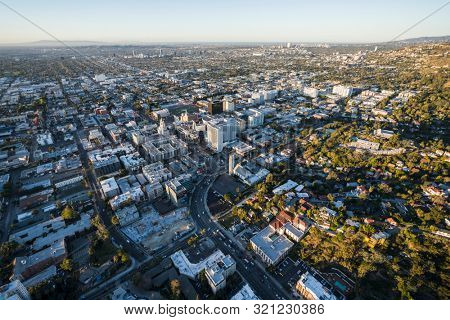 Los Angeles, California, USA - February 20, 2019:  Dawn view of Highland Ave near Hollywood Blvd in scenic Southern California.
