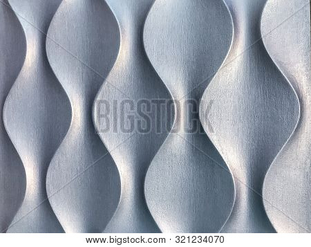 Silver 3d Interior Decorative Wall Panel With Unusual Geometric Shape. Metallic Gray Background With