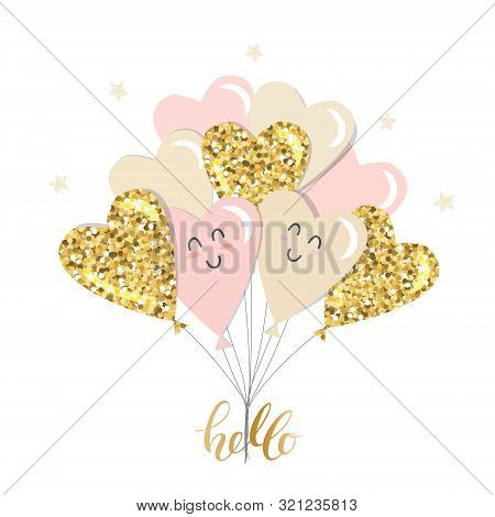 Kawaii Heart Balloons Brunch. Girly. Gold Glitter, Pastel Pink And Beige Colors. For Valentines Day,