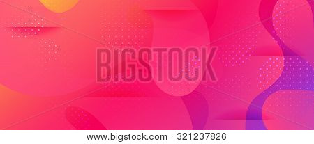 Multicolor Abstract Poster. Gradient Background. Minimal Pattern. Dotted Wave Brochure. 3d Fluid Ban