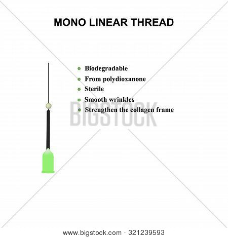 poster of Mono Linear Thread for facelift and wrinkle smoothing. Mesotherapy Infographics. Cosmetology. Vector illustration on isolated background.
