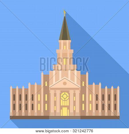Catholic Temple Icon. Flat Illustration Of Catholic Temple Vector Icon For Web Design