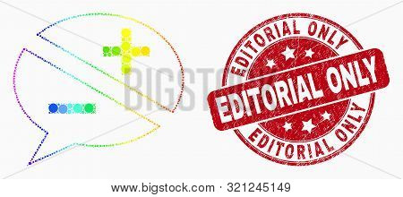 Pixel Bright Spectral Discussion Messages Mosaic Pictogram And Editorial Only Watermark. Red Vector