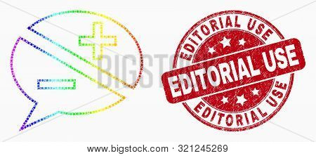 Pixel Spectral Discussion Messages Mosaic Pictogram And Editorial Use Seal Stamp. Red Vector Round S