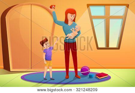 Babysitter Concept Banner. Cartoon Illustration Of Babysitter Vector Concept Banner For Web Design
