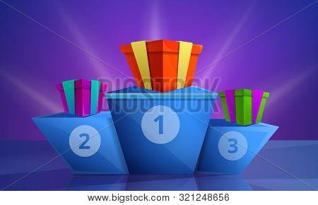 Contest Podium Concept Banner. Cartoon Illustration Of Contest Podium Vector Concept Banner For Web