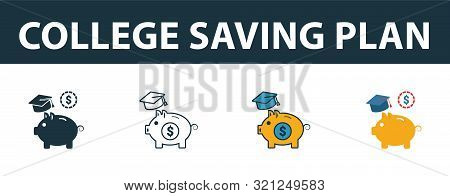 College Saving Plan Icon Set. Four Elements In Diferent Styles From Personal Finance Icons Collectio