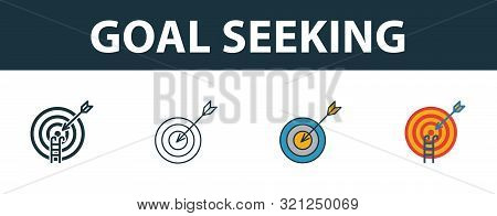Goal Seeking Icon Set. Four Elements In Diferent Styles From Project Management Icons Collection. Cr