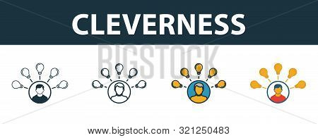 Cleverness Icon Set. Four Elements In Diferent Styles From Project Management Icons Collection. Crea