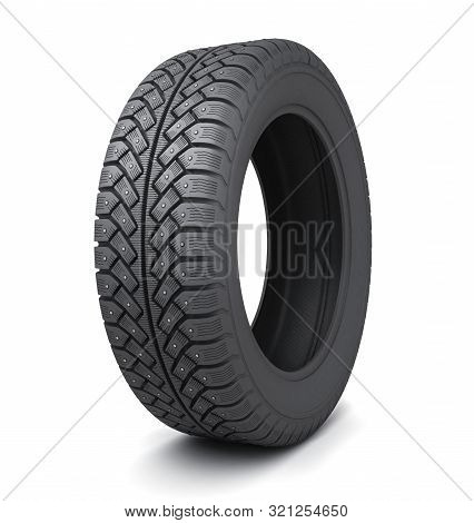 One Winter Tire Car On White Background