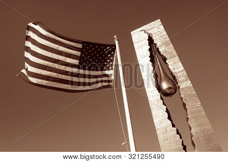 NEW JERSEY - MARCH 20: Teardrop Memorial closeup on March 20, 2014 in New Jersey. Given from Russian Government, it is the memorial to the victims of the September 11 attacks.
