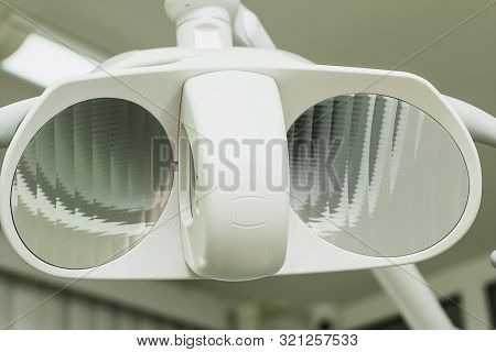 Surgical Shadowless Lamp In The Operating Room. Medical Equipment