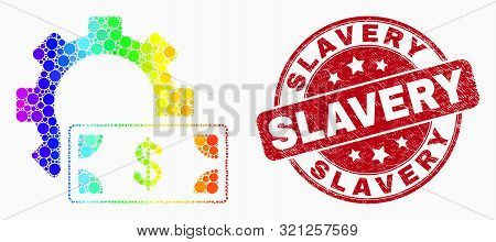 Pixelated Spectrum Financial Settings Gear Mosaic Pictogram And Slavery Seal Stamp. Red Vector Round