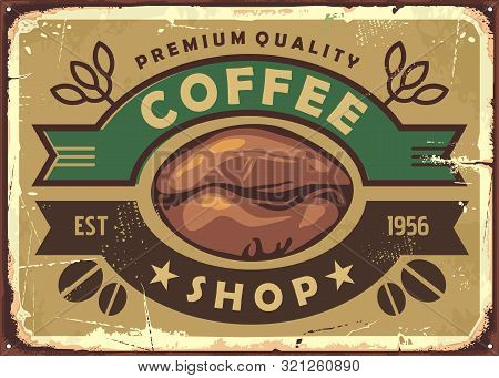Coffee Shop Vintage Old Sign Post With Coffee Bean And Ribbon Ornaments. Retro Vector Illustration.