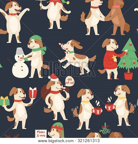 Christmas Dog Seamless Pattern. Vector Illustration Of Cute Cartoon Dog In Red Santa Hat And Snowman