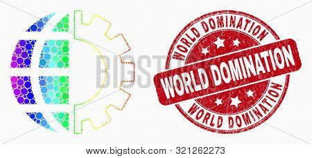 Pixel Bright Spectral Global Industry Mosaic Pictogram And World Domination Stamp. Red Vector Rounde