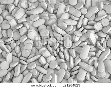 Many white medical pills background. Pharmaceutical industry concept. - 3d rendering