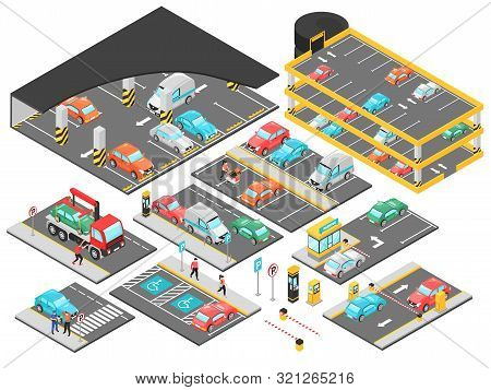 Isometric Car Parking Underground Multilevel Set With Isolated Constructor Elements For Parking Lot