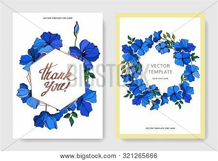 Vector Flax Floral Botanical Flowers. Blue And Green Engraved Ink Art. Wedding Background Card Decor