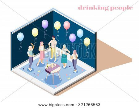 Relaxing And Drinking People Indoors Isometric Composition With Catering Symbols Vector Illustration