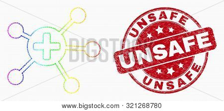 Dot Spectral Medical Links Mosaic Icon And Unsafe Seal Stamp. Red Vector Rounded Grunge Seal Stamp W