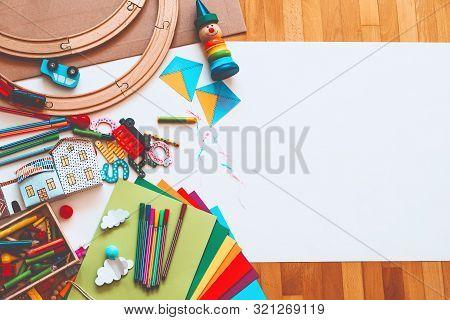 Kindergarten Or Preschool Background. Art Child Frame With Empty Paper.