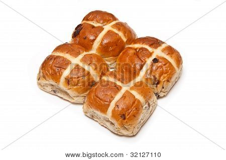 Hot Cross Buns Isolated On A White Studio Background.