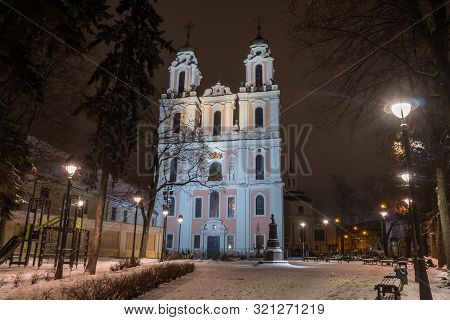Vilnius, Lietuva - 04.01.2019: St. Catherine's Church Is The Church Of The Former Benedictine Monast