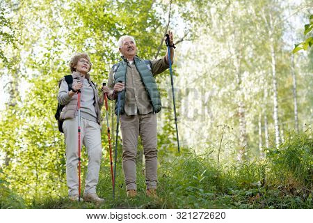 Happy senior man showing his wife way to the forest while standing in natural environment