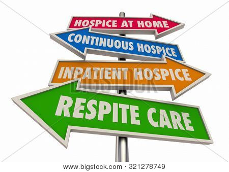 Hospice Levels Stages At Home Continuous Inpatient Respite Care Signs 3d Illustration