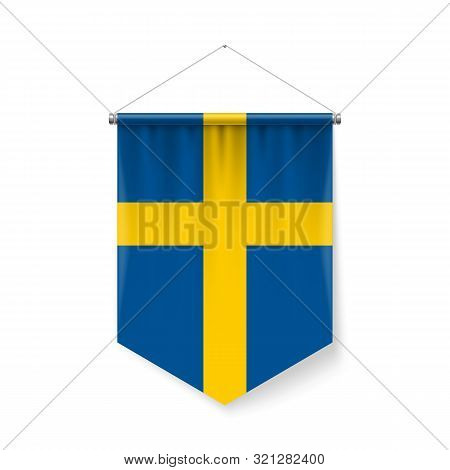 Vertical Pennant Flag Of Sweden As Icon On White With Shadow Effects. Patriotic Sign In Official Col