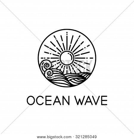 Vector Design Of Ocean Waves And Sunshine Line Art Style Isolated White Background, Wave Logo Line A
