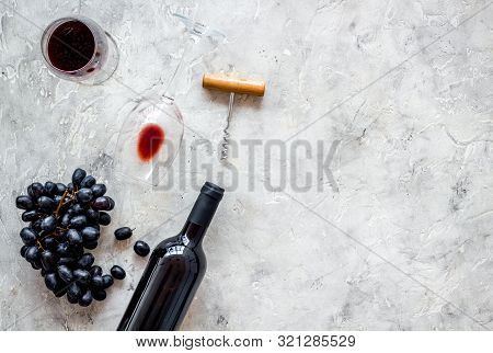 Composition With Wine Bottle On Grey Background Top View Copy Space