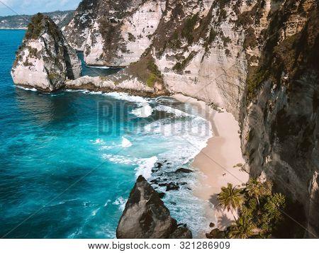 Aerial View Of Landscape With Daimond  Beach, Nusa Penida Island Bali ,indonesia