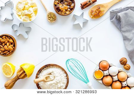 Cooking For Christmas Or New Year Dinner. Baking Frame. Ingredients And Utensil On White Background