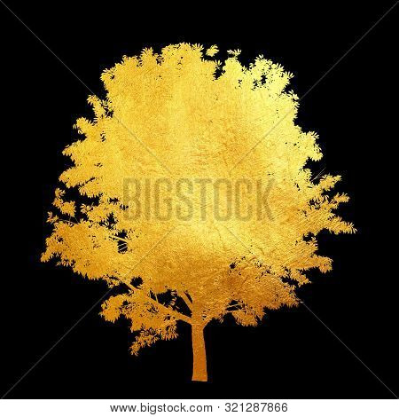 Golden Shinning Material Texture Pattern Tree Isolated On Black Background. Creative Abstract.