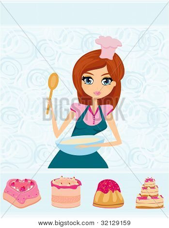 beautiful Housewife cooking dessert