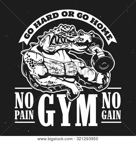 Crocodile Bodybuilder With Dumbbell, Sport Gym Advertisement, Monochrome T-shirt Print. Vector Muscu