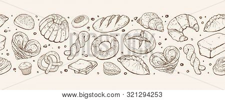 Fresh Bread Banner. Panoramic Composition With Hand Drawn Bread. Vector Illustration Banner Design F