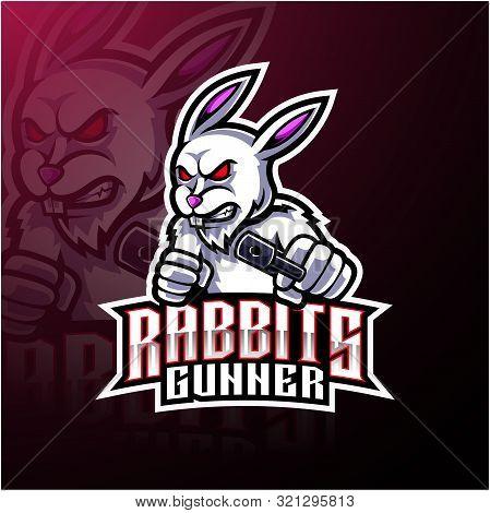 Rabbit esport mascot logo design with text poster